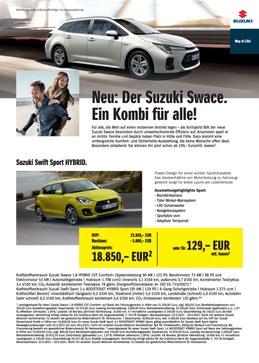 Sonderaktion Suzuki Swace sowie Suzuki Swift Sport