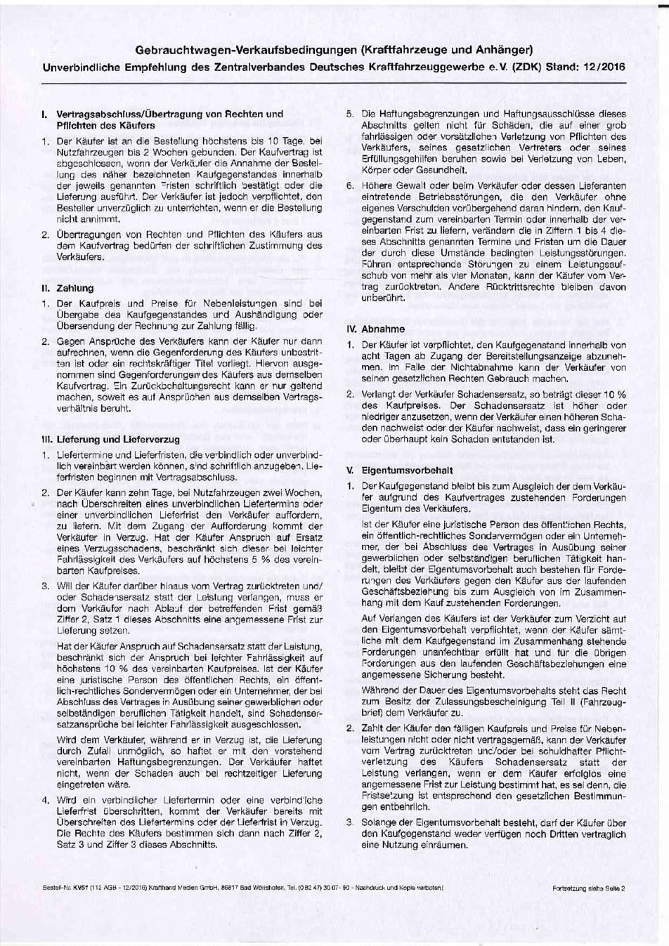 Gebrauchtwagen Verkaufsbedingungen Seite 1 von 2