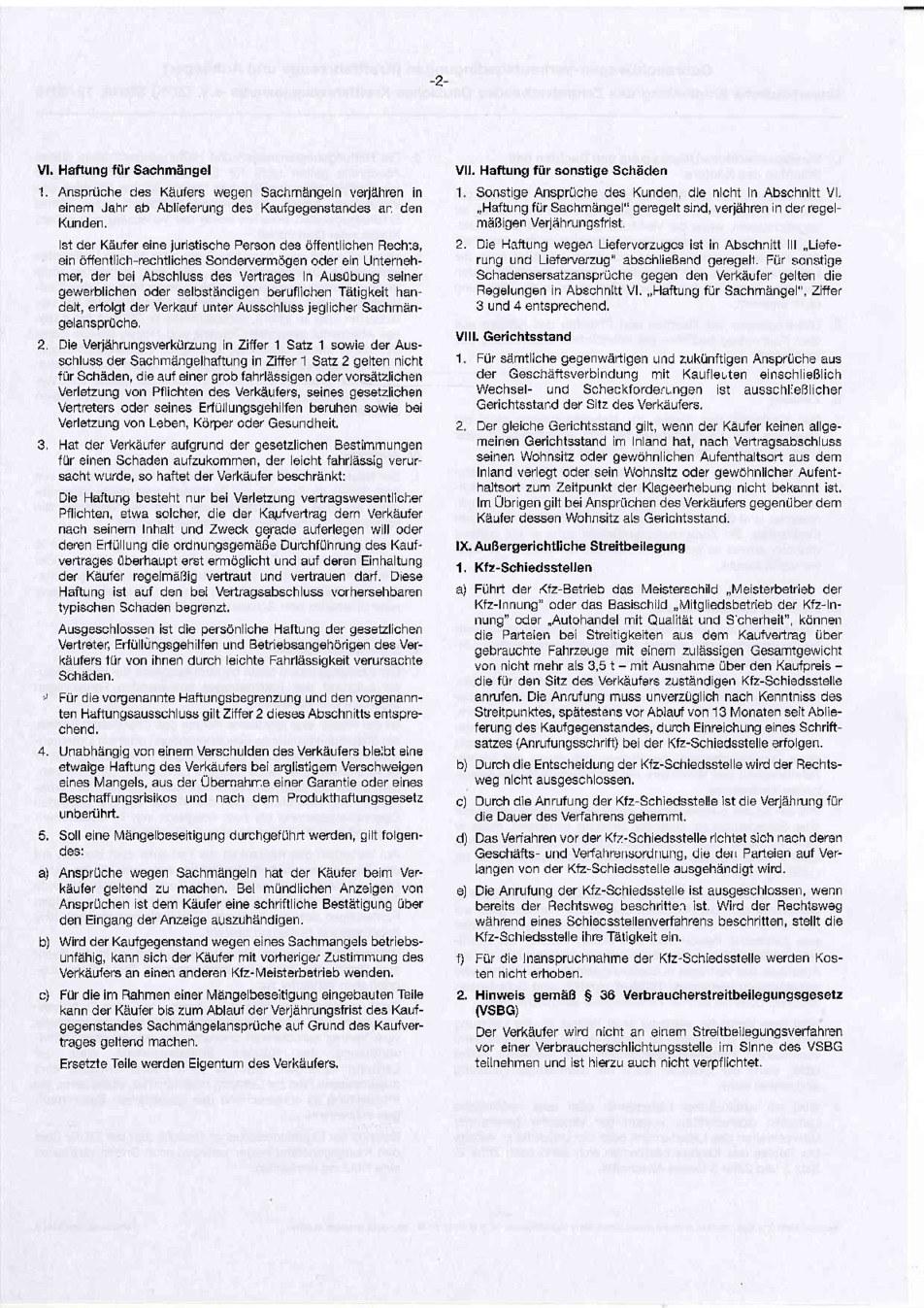 Gebrauchtwagen Verkaufsbedingungen Seite 2 von 2