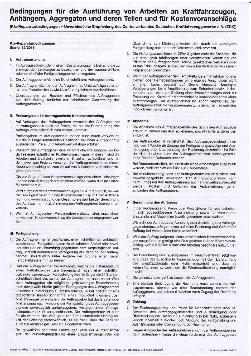 Kfz Reparaturbedingungen Seite 1 von 2