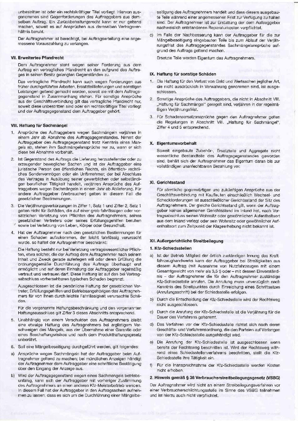 Kfz Reparaturbedingungen Seite 2 von 2