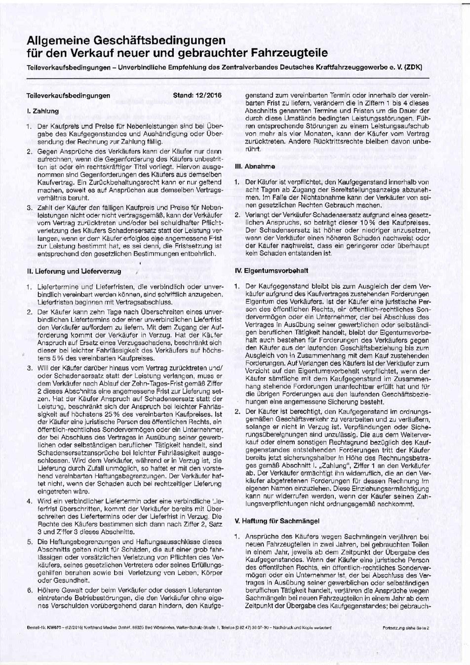 Teileverkaufsbedingungen Seite 1 von 2