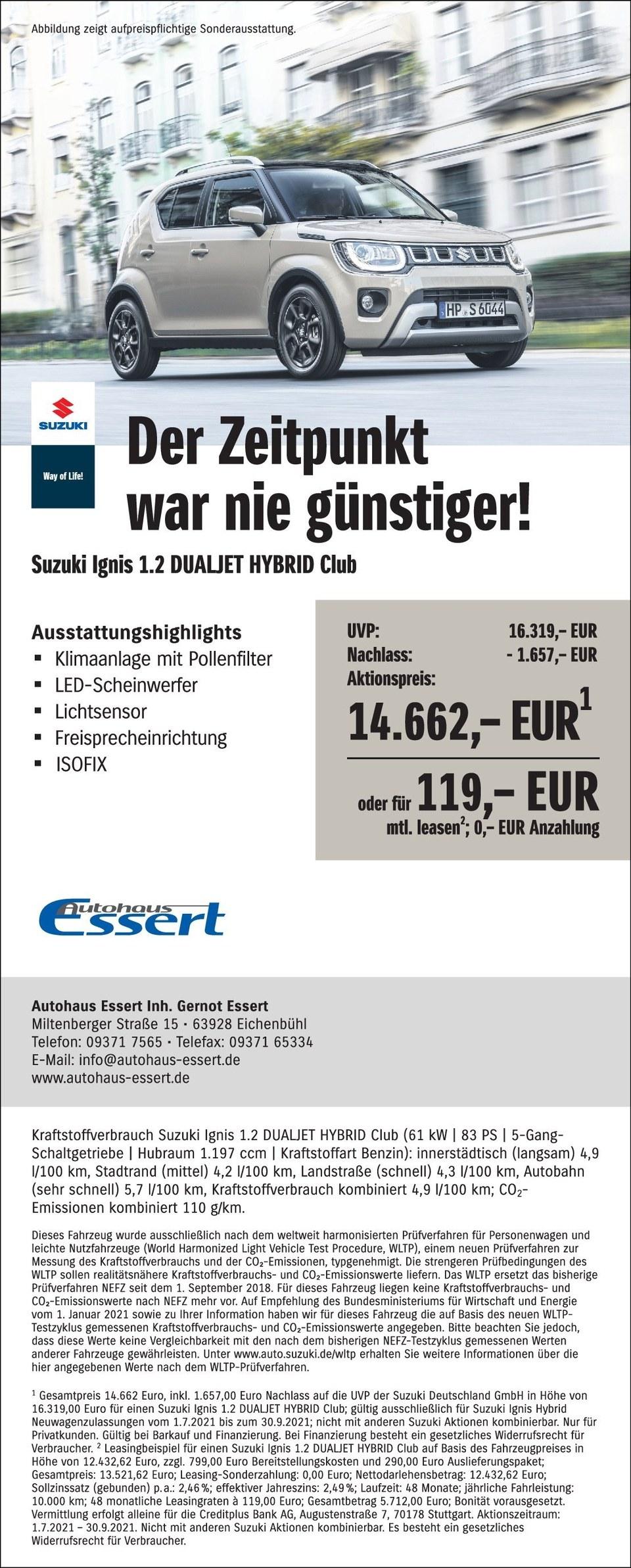 Mehrpreisanzeige Ignis Autohaus Essert