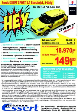Sonderaktion Suzuki SWIFT SPORT zum Sonderpreis!