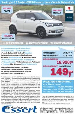 Suzuki Ignis Hybrid Sonderaktion Autohaus Essert