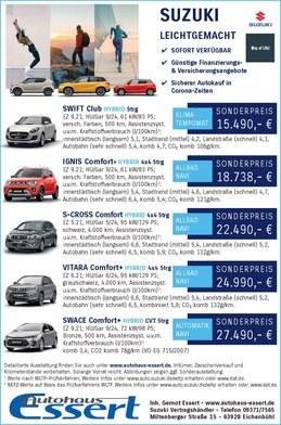 Sonderaktion Vorführwagen Suzuki Autohaus Essert