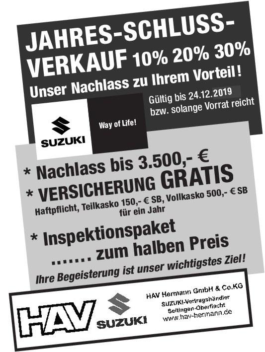 Jahres-Schluss-Verkauf bei HAV Hermann