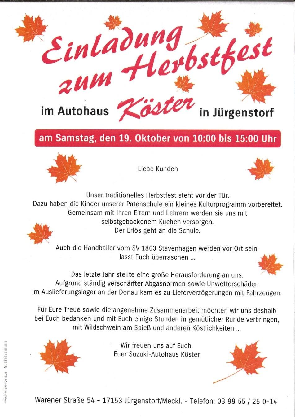 Herbstfest im Suzuki Autohaus Köster