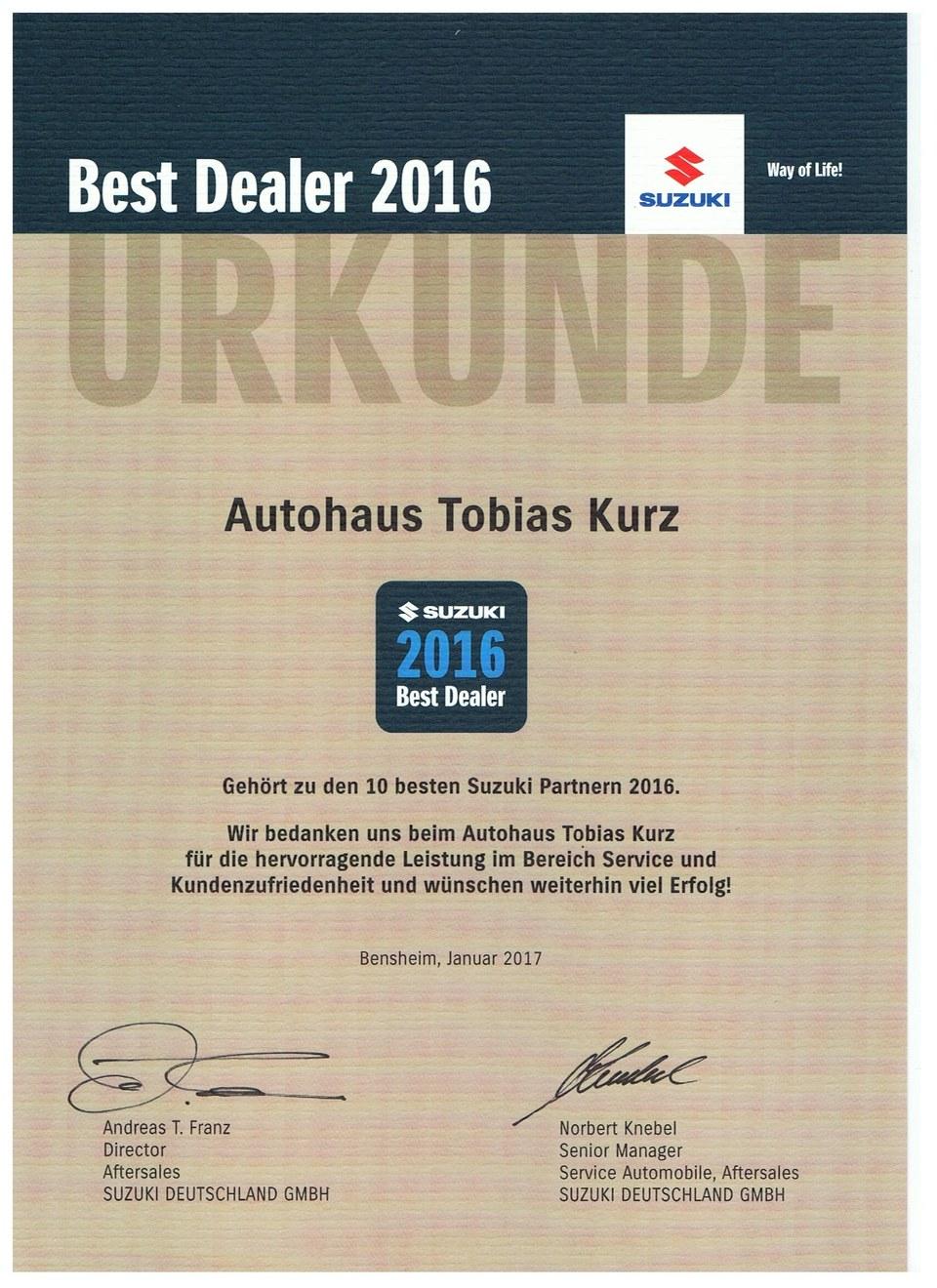 Best Dealer 2016