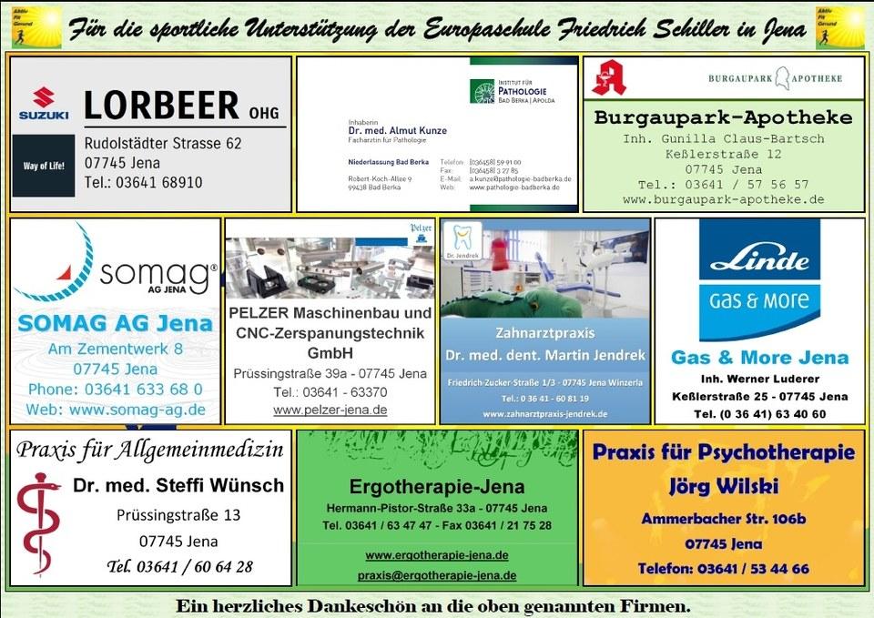 Sport-Sponsoring-Aktion Grundschule Friedrich Schiller in Jena