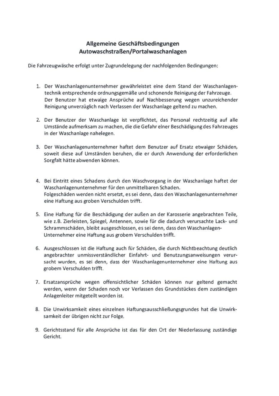 AGB Autowaschstraßen/Portalwaschanlagen