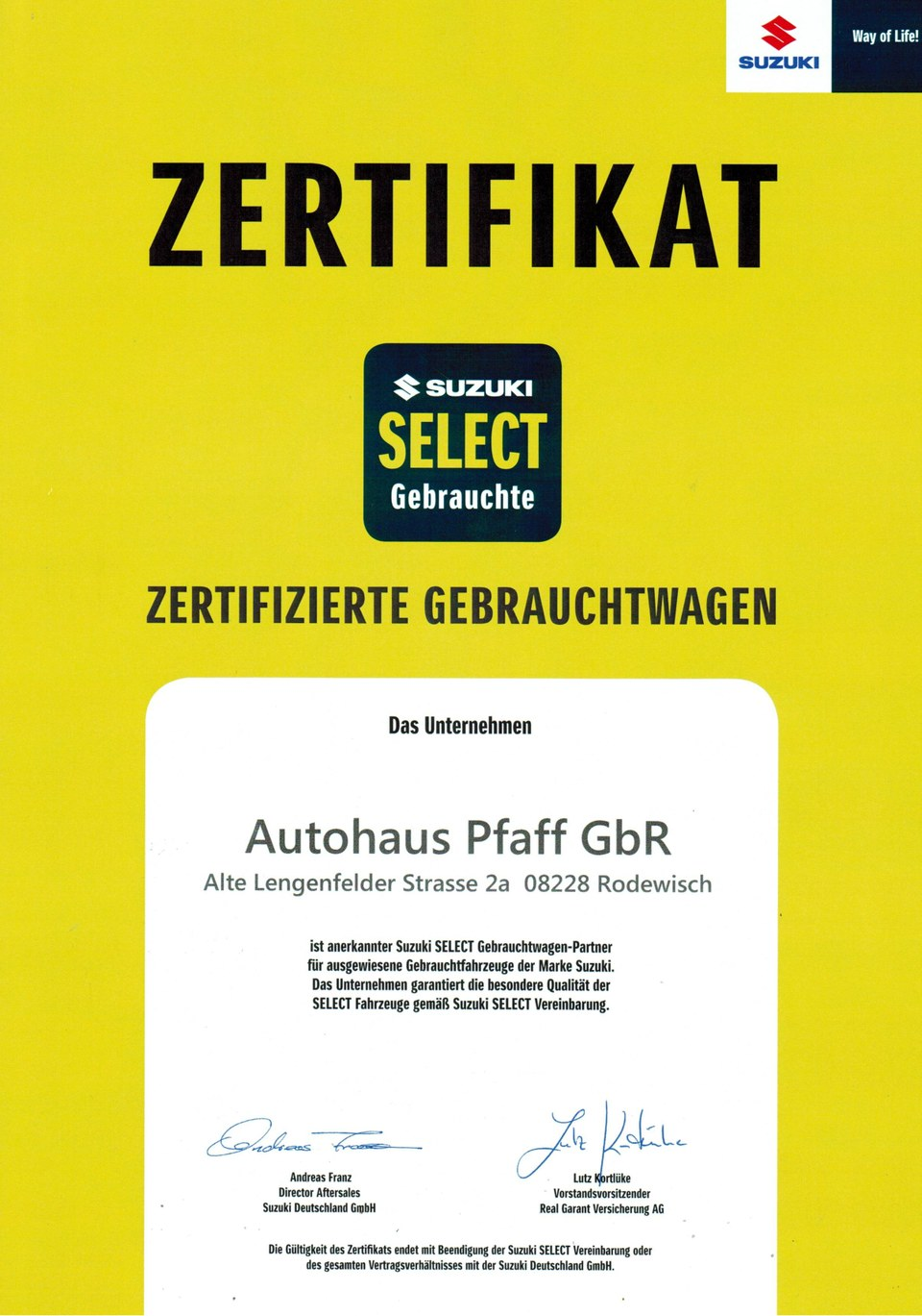 Zertifizierte Gebrauchtwagen