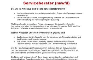 Stellenanzeige - Ihr Job als 'ServiceberaterIn (m/w/d)'