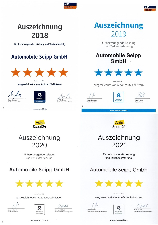 Auszeichnungen AutoScout24 der Automobile Seipp GmbH