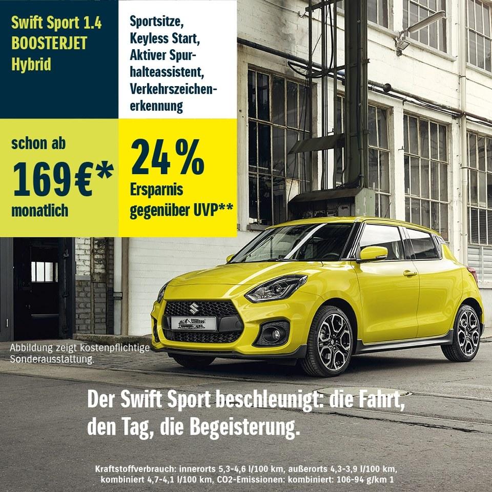 Sichere dir jetzt den Suzuki Swift Sport 1.4 BOOSTERJET Hybrid schon ab 169€* im Monat!