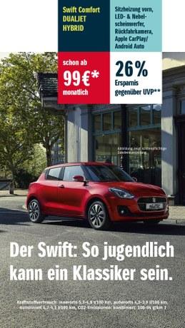 Sichere dir jetzt den Suzuki Swift Comfort DUALJET HYBRID schon ab 99€* im Monat!